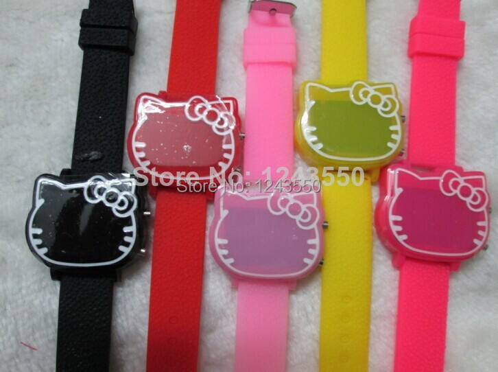 Hot Sale! 2014 New Fashion Lovely Cute Hello Kitty LED Digital Wrist Watch KT Silicone h for Kids Children Girl Wristwatc 30pcs