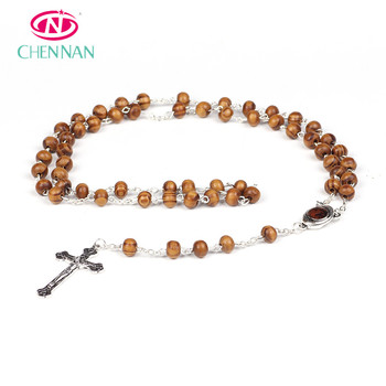 Wood rosary beaded chain Jesus piece and cross pendant wooden necklace  wholesale perfume rosary 3a6c05a0e8