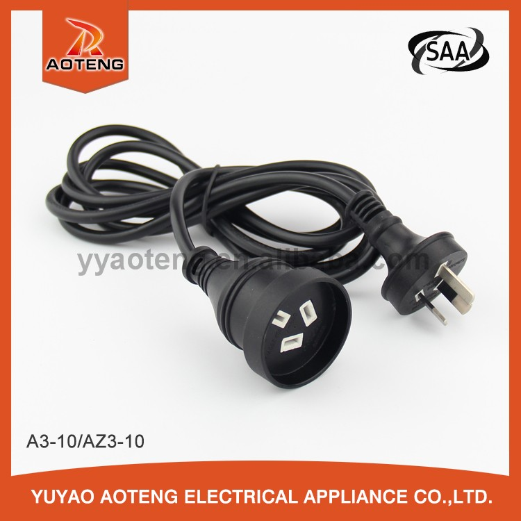 Australian standard vde approval 3 core 0.75 or 1.0mm2 black female and male plug AC POWER extension cord
