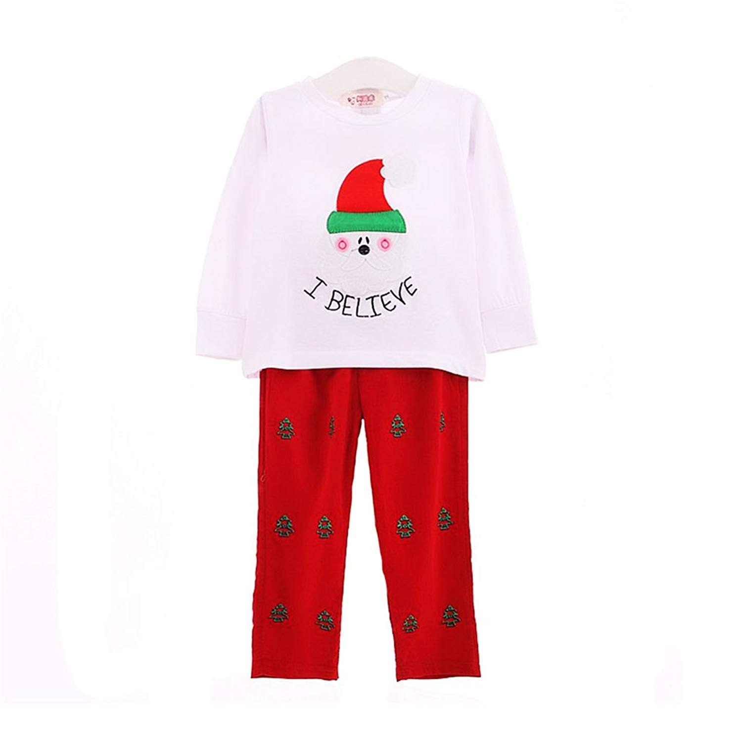 get quotations kimocat christmas t shirt suit for kids 2piece play set cute santa clause printing outfits