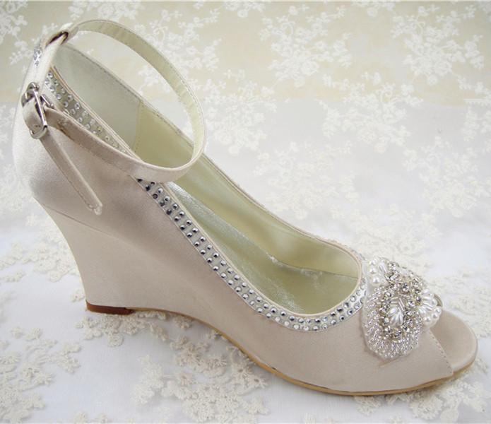 Ivory Lace Wedge Wedding Shoes