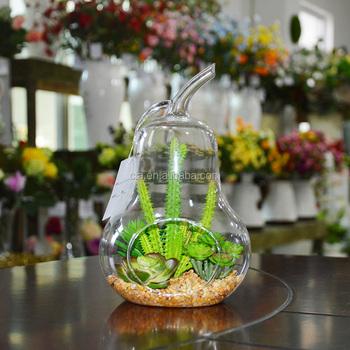 Pear Shape Glass Terrarium Artificial Succulent Plant For Hotel