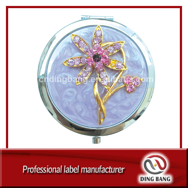 OEM High Precision Custom Made Cloud Glue Process Beautiful Flower Design Double Side Foldable Souvenir Custom Metal Mirror