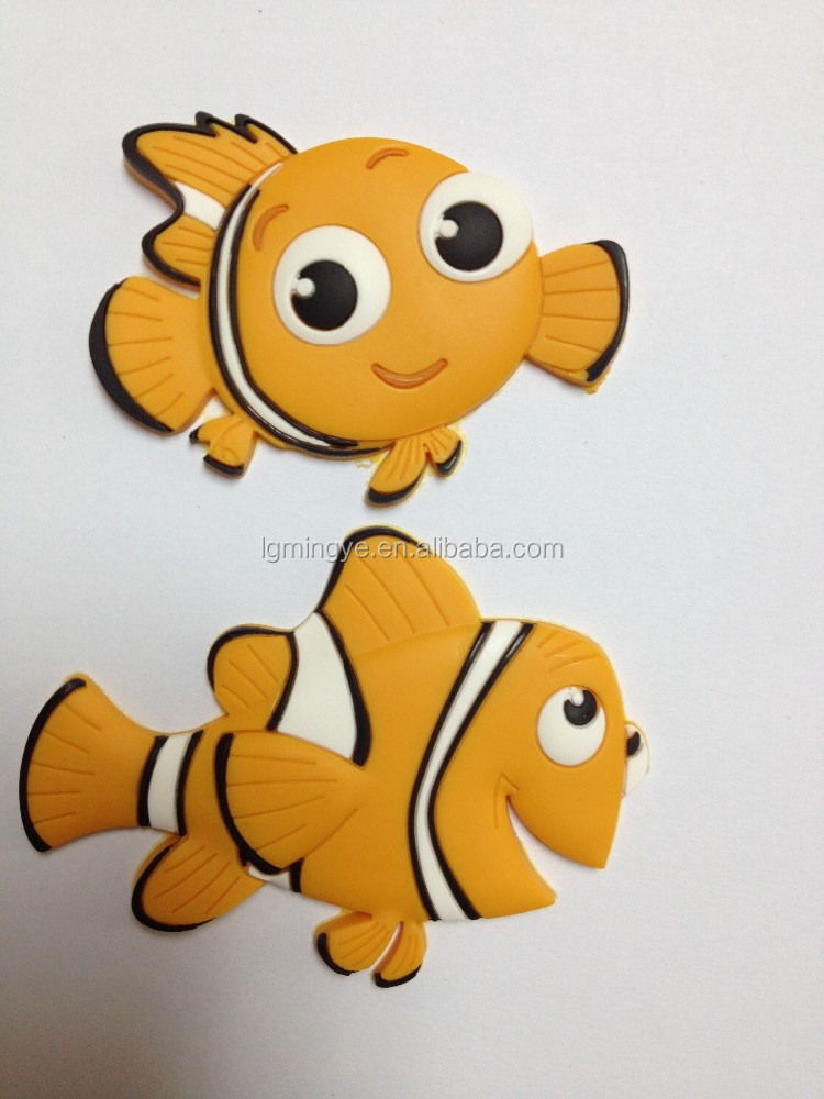 customised fish shape pvc 3d fridge magnet