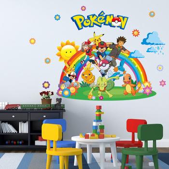 3037 3D Cartoon Film Pokemon Wall Stickers Aminal Decals For Kids Wall Art