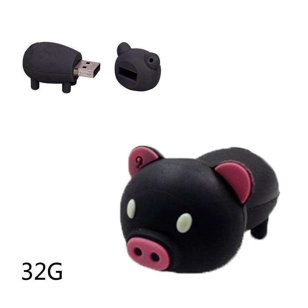 32GB/16GB USB 2.0 Flash Drive PVC Cute Animal Pig Shape U Disk Flash Memory Stick Memory Drive (32GB, Black)