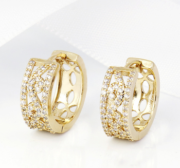 Fashion Jewelry 14k Gold Plated Circle Diamond Huggie Hoop Earrings For Cute S