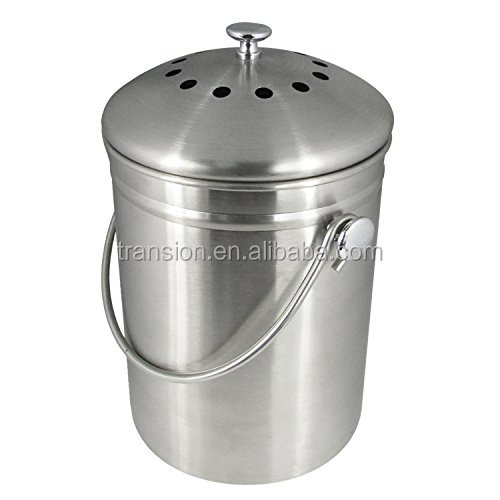 1.3 gallon Indoor Kitchen Stainless Steel Compost Bin, warm compost pail with lid including two charcoal filter, kitchen crock