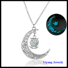 2017 Fashionable Cut Out Metal Moon Owl Necklace