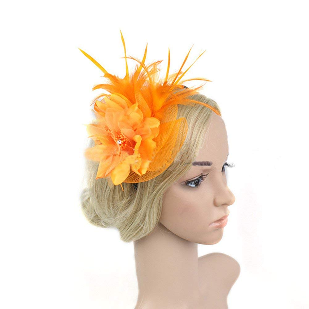 8e2c26325f7 Kevins Bridal Flower Mesh Feather Pillbox Cocktail Party Veil Fascinator  Hair Clip Hat