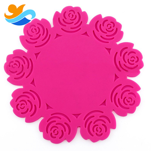 Nine Roses shaped heat resistant silicone grill desk placemat table dish mat