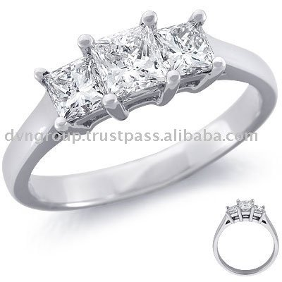 Tri Diamond Silver Plated Rings