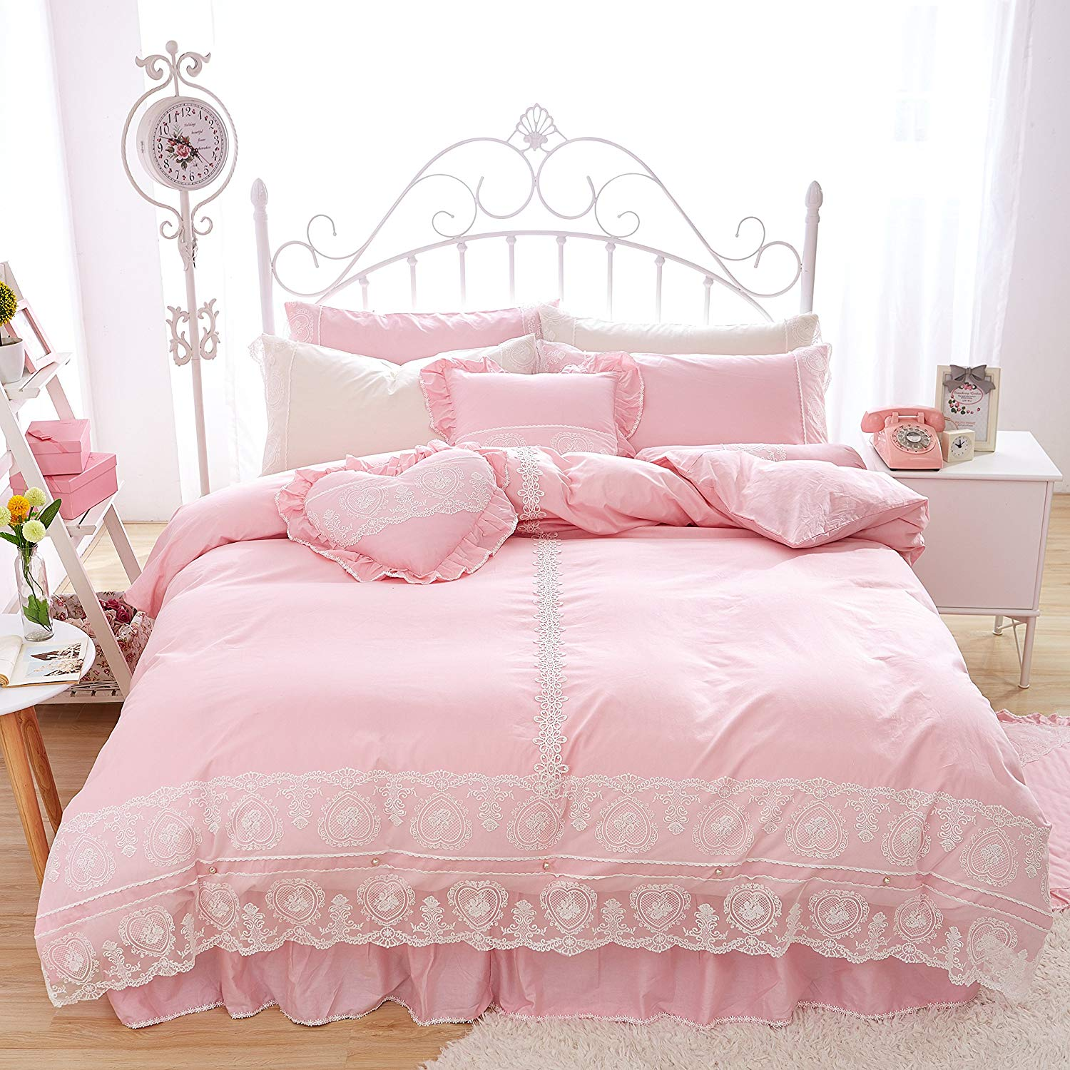 Buy Fadfay Home Textile Beautiful Korean Lace Bedding Sets Luxury Girls Pink Lace Ruffle Bedding Sets Romantic Princess Wedding Bedding Set Girls Fairy Bedding Sets 9 Pcs Twin In Cheap Price On Alibaba Com
