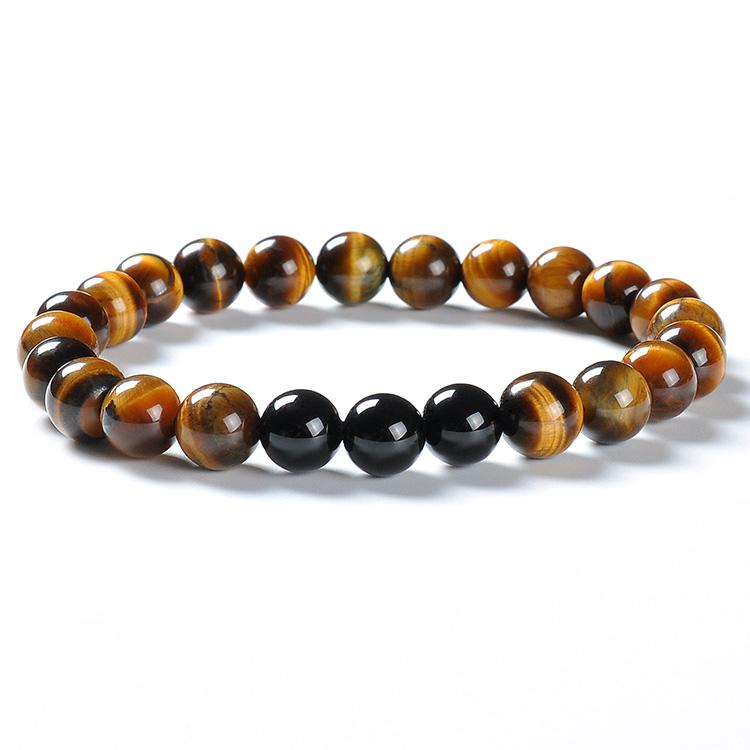 F88 2020 DIY Natural Gents Tiger Eye Natural Stone Mala Bead Bangle Luxury African Yoga Elastic Rope Jade Bracelet