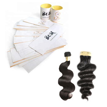 Custom Hair Extension Packaging Bundle Labels Wrap Round Logo Stickers Printing