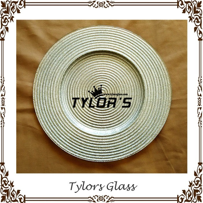 Wholesale Silver Glitter Swirl Glass Plates Chargers For Weddings By Tylors Glass