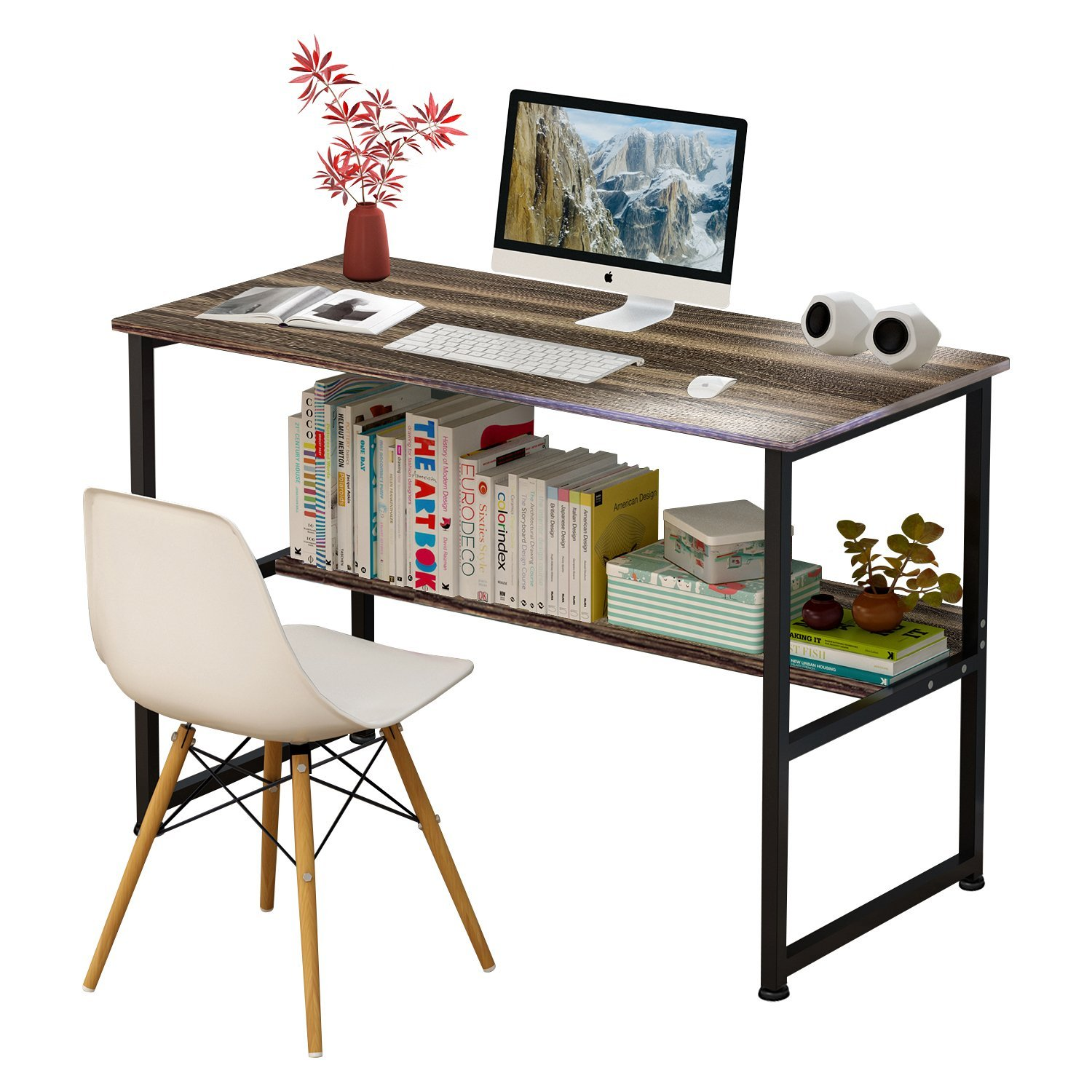 Jerry & Maggie - Wood & Steel Table Simple Plain Lap Desk Computer Desk Table Personal Working Space Lapdesk With 4 Steel Legs Stand Desk for Livingroom Bedroom Office - Dark Wood Tone