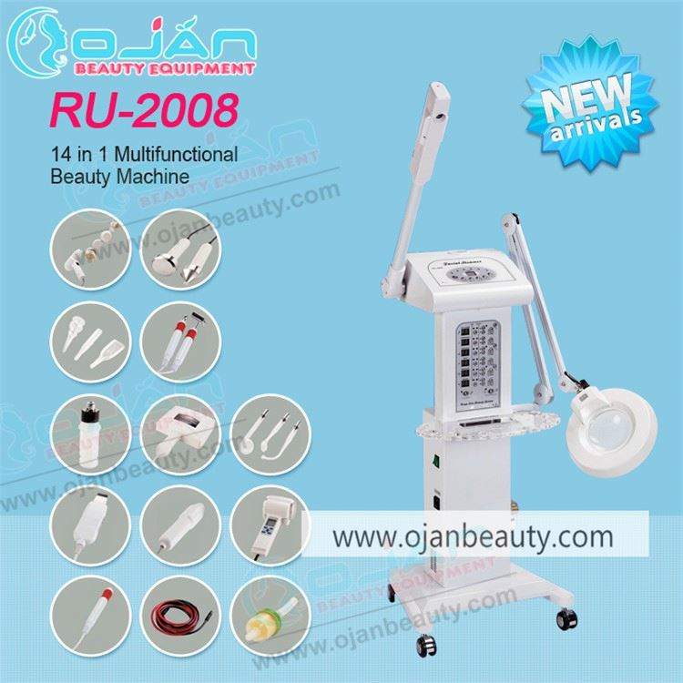 14 IN 1 facial machine multifunction RF steamer galvanic scrubber for salon use