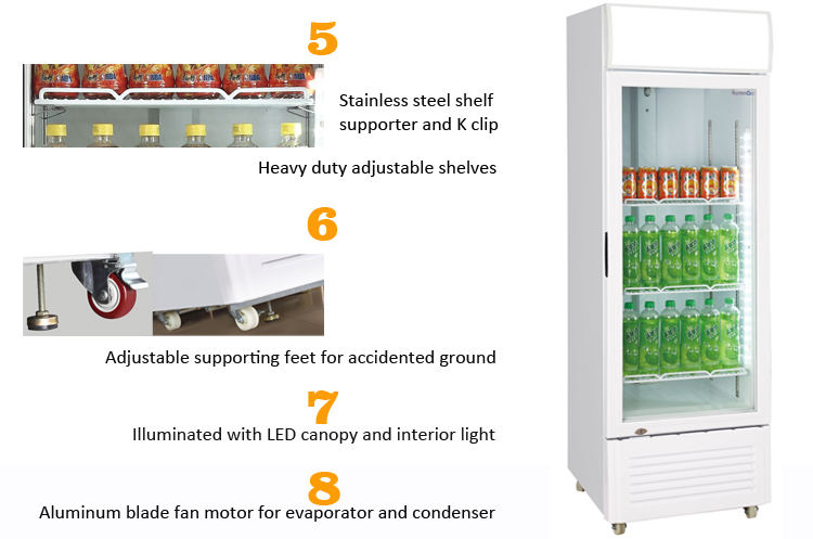 Altaqua showcase cooler of 1 glass door upright vertical type for soft drink beer pepsi cola