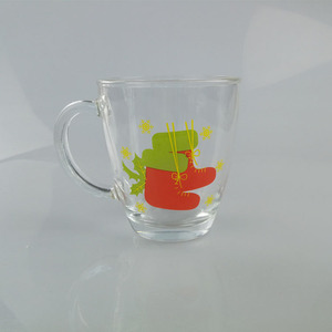 Christmas Decoration Glass mug / Sock decal glass cup with handle promotion