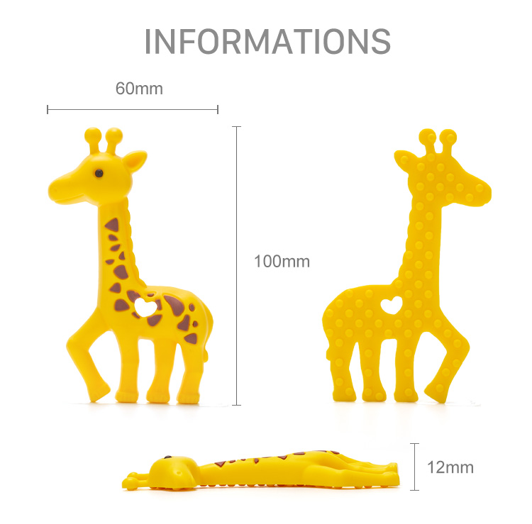 2018 New Arrival Silicone Rubber Teether Chew Toys Wholesale Giraffe Silicone Teething Pendant
