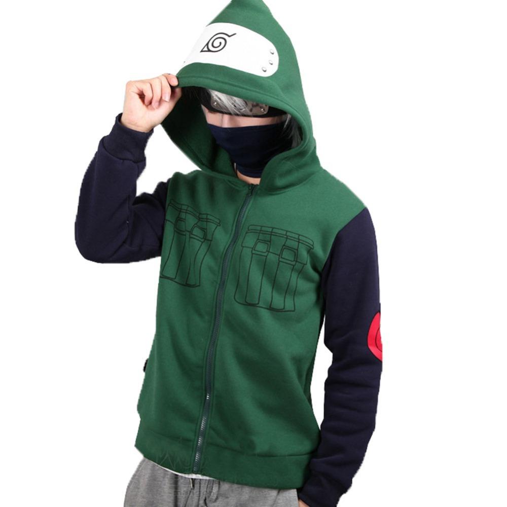 807f554550 Get Quotations · Naruto Hoodie Kakashi Cosplay Cool Adult Zip Up Hoodie  Sweatshirt Green