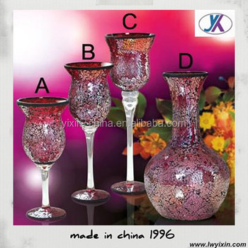 India Types Of Flower Rattan Glass Crackle Mosaic Glass Vase Buy