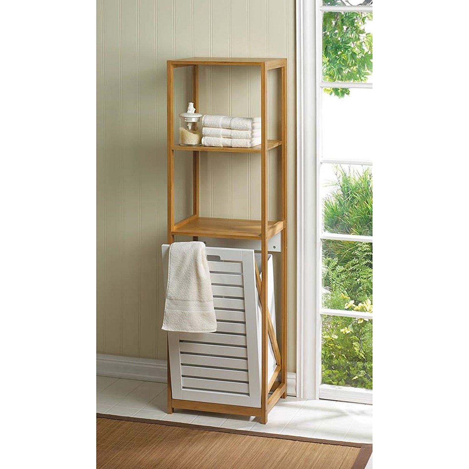 Sleek Bathroom Spa Tower With Louvered HamperSleek Bathroom Spa Tower With Louvered Hamper Share This Product: Sleek Bathroom Spa Tower With Louvered Hamper