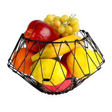 Toprank Multi-shaped Flexible Iron Wire Fruit Storage Basket Tapered Folding Fruit Basket For Kitchen And Table