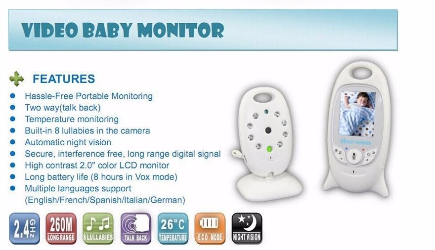 Vendita calda Display LCD VB601 di Visione Notturna Senza Fili Del Bambino del Monitor Della Macchina Fotografica 2 Way Audio Temperatura Monitor Video Baby Monitor VB601