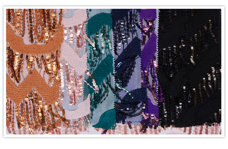 Custom made fashion Turkey Lace Embroidery wholesale sequin fabric