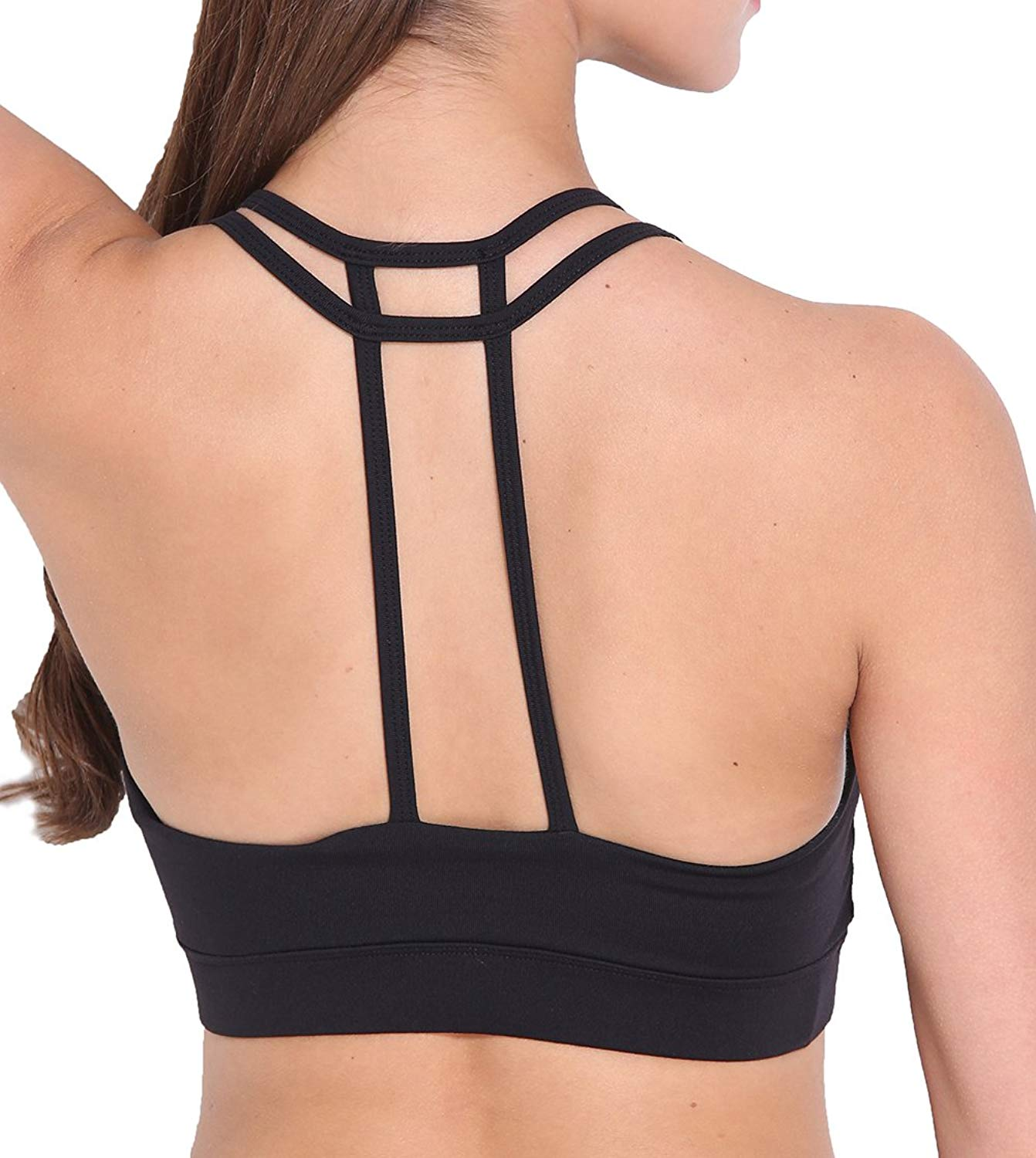 bc1c3e1e62 Get Quotations · Hioffer Sports Bra Criss Cross Back Strap Padded Mid  Impact Support Yoga Sports Bra Top