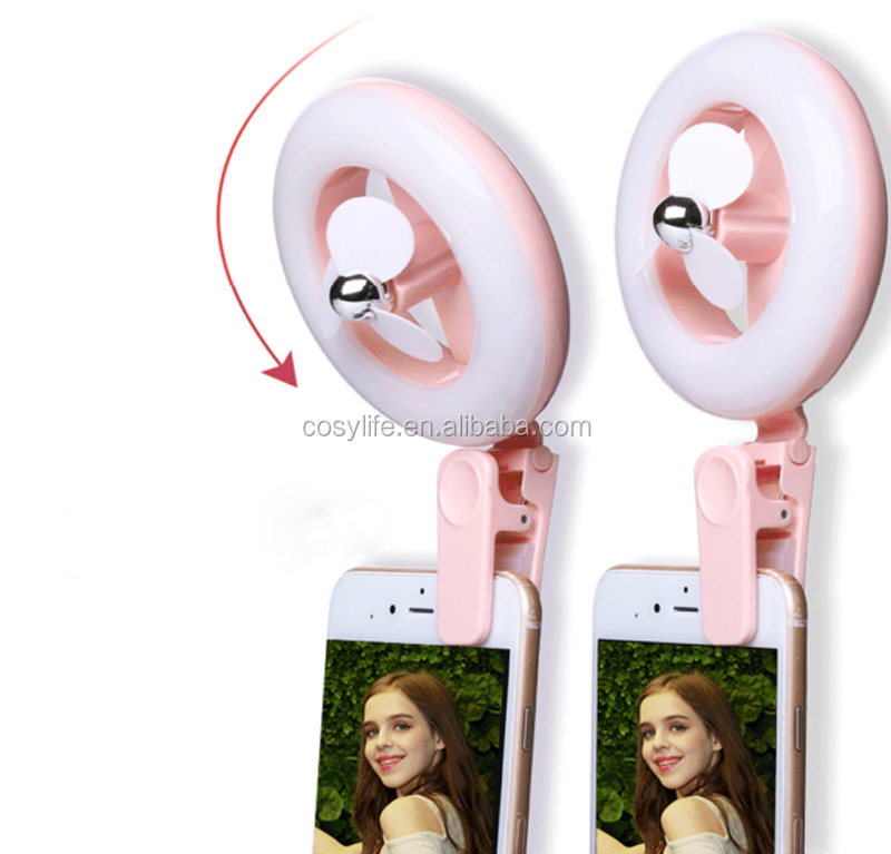 Wholesale USB Low Voltage Mini Fan For Mobile Clip Portable Rechargeable Fan With Led Selfie Ring Light