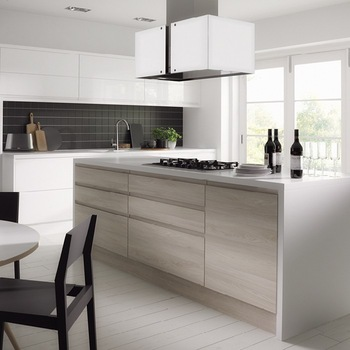 Beau White Wood Grain Laminate Kitchen Cabinets