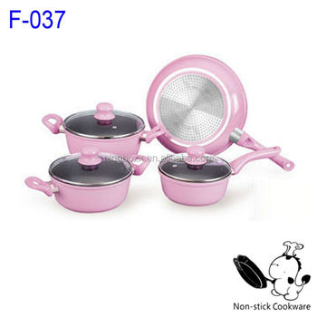 7pcs Forged Korea Pink Kitchenware Nonstick Ceramic Cookware With Induction Bottom Sauce Pot