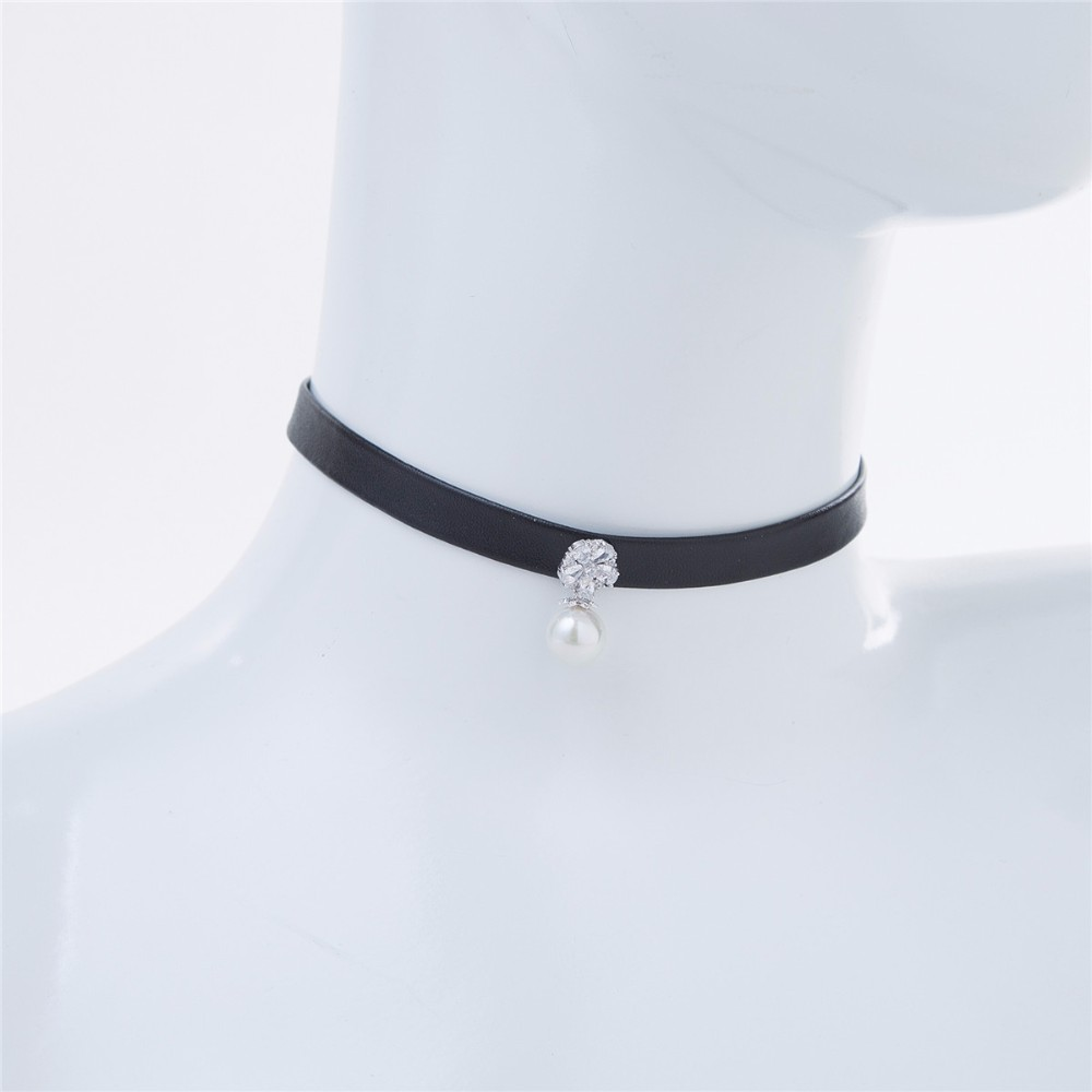 fashion cz stones brass pearl designs factory wholesale black leather choker necklace