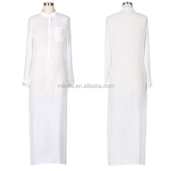 Hot Sales Women White Plain Long Sleeve Sheer Shirt Long Dress Wholesale  CUSTOM Apparel Manufacturer 4e99b4845