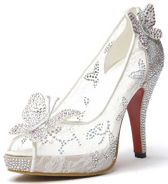 11dfc132e Littleboutique Lace Wedding Pumps Crystal Stud Bridal High Heels Rhinestone  Evening Party Dress Heel Pump