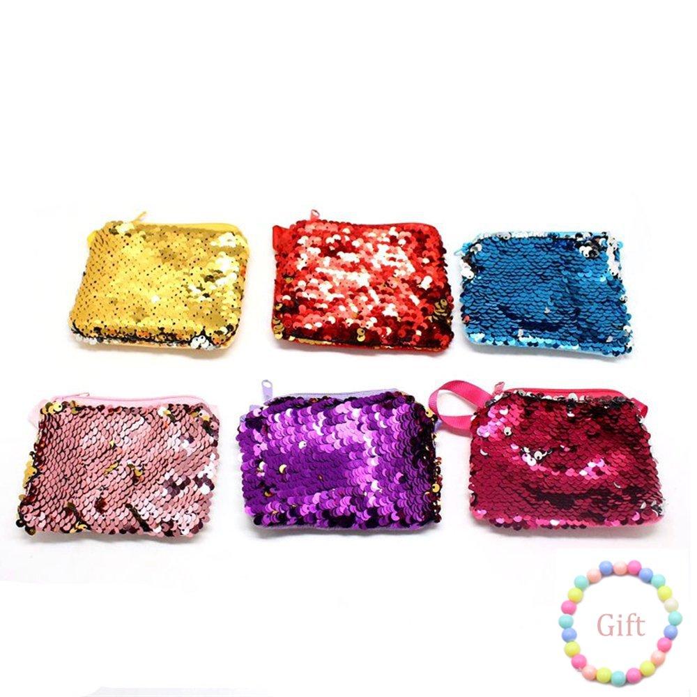 LoveInUSA 6 PCS Mini Glitter Sequins Purse Cute Lovely Sparkle Bling Bling Crossbody Bag Handbag (1 Bracelet for Free)