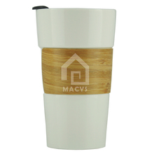 400ml/14oz starbucks ceramic coffee mug without handle,bamboo banderole