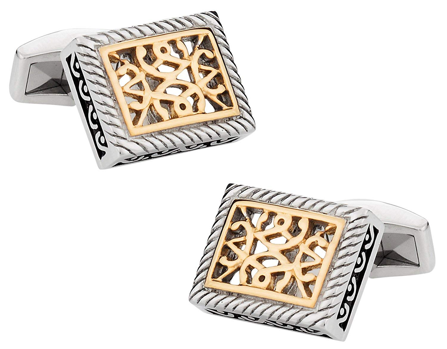 Cuff-Daddy Ornate Two-Tone Stainless Steel Cufflinks with Presentation Box
