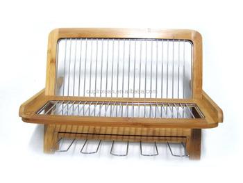Folding Bamboo Dish Rack Dish Drying Holder Kitchen Sink Organizer - Buy  Kitchen Cabinet Organizer Dish Rack,Metal Dish Rack,Dish Rack Product on ...