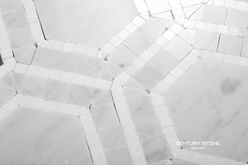 Carrara And White Thassos Marble Hexagon Mosaic Bathroom
