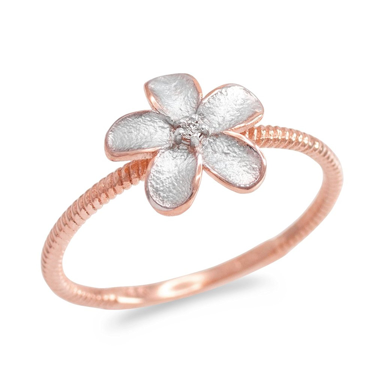 Cheap hawaiian plumeria ring find hawaiian plumeria ring deals on get quotations 14k two tone rose gold solitaire diamond rope band hawaiian plumeria flower ring izmirmasajfo