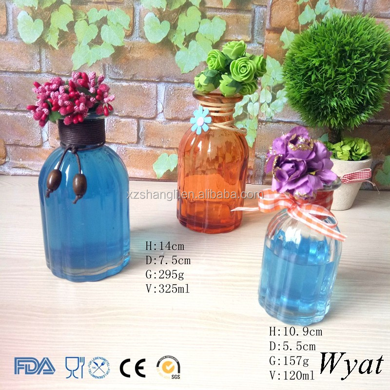 Cheap Colored 100ml 300ml Round Glass Flower Vase Bottles