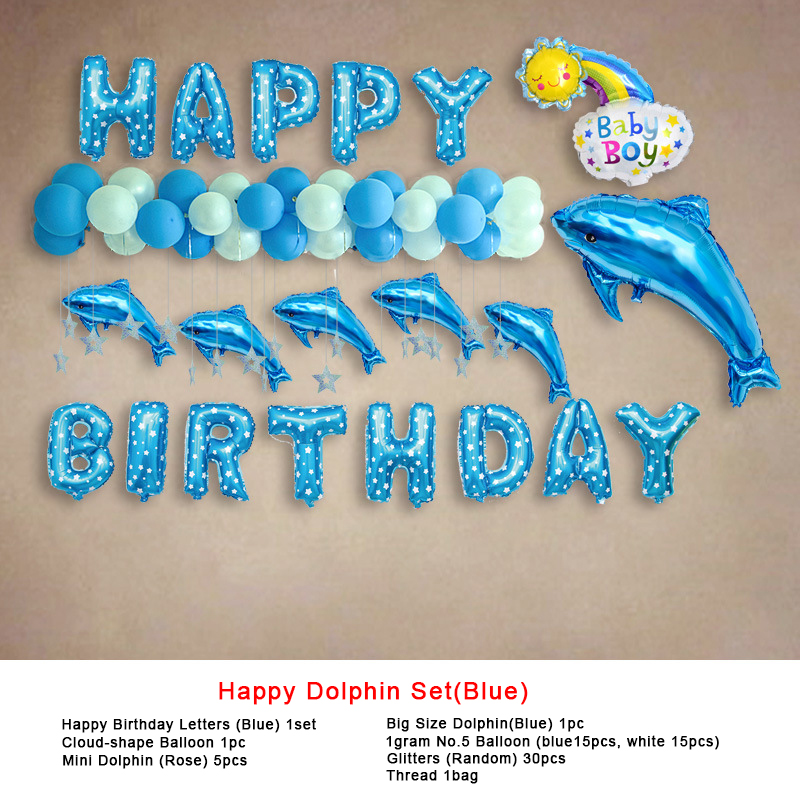 China Factory Stick On Wall Colorful Interesting Cheap  Foil  Balloons Dolphin Happy Baby Birthday Party  Decoration  Balloons