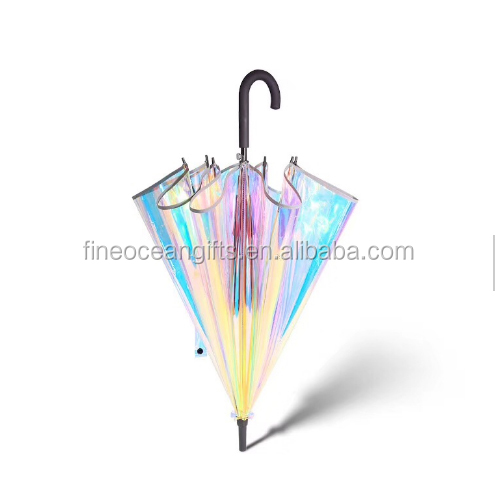 2019 new material laser clear changing color hologram holographic umbrella wholesale