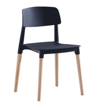Modern PP Plastic Dining Chair With Beech Wood Legs Backrest Living Room