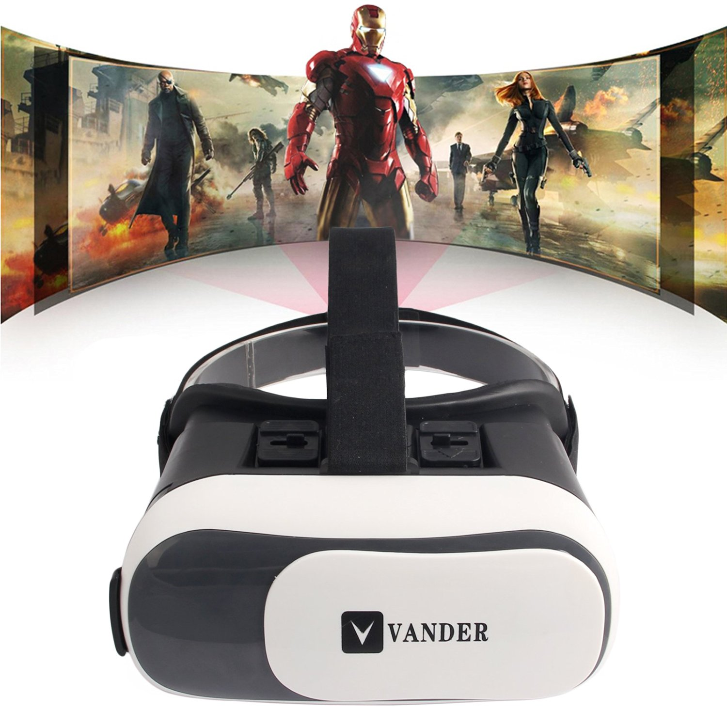 Vander VR Box 2.0,3D VR Virtual Reality GlVR Headset 3D Glasses VR Box 2.0 Virtual Reality with Adjustable Lens and Strap for 4.0-6.0 inch Smart phones iPhone VR Box for 3D Movies and Games