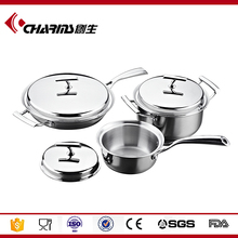 6pcs Tri-Ply cookware sets kitchen stainless steel copper cookware india/ copper cookware set